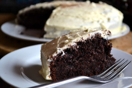 Vegan Chocolate Cake with Vanilla Frosting