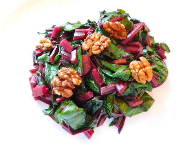 Sauteed Beet Greens with Walnuts